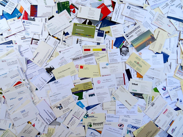 Dumping old business cards