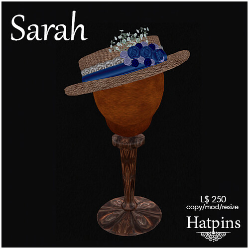 Hatpins - Sarah Hat - Blueberry