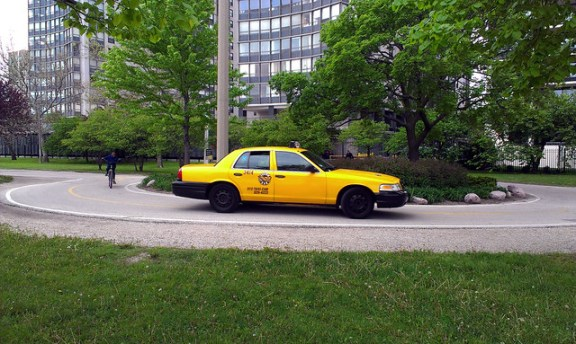 Taxicab on Lakefront Path.