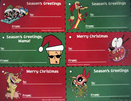20120922 - yardsale booty - Cartoon Network Christmas tags - IMG_4901