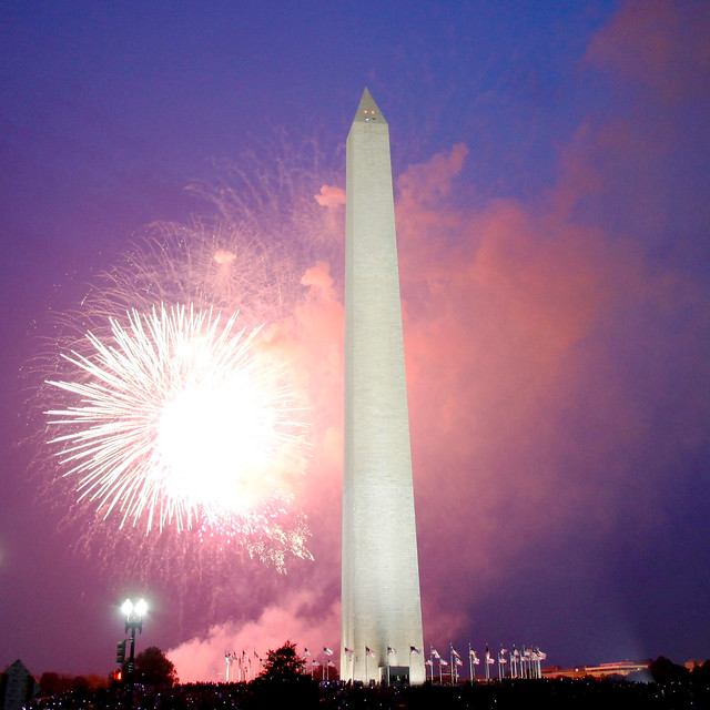 Fireworks over Washington Monument.