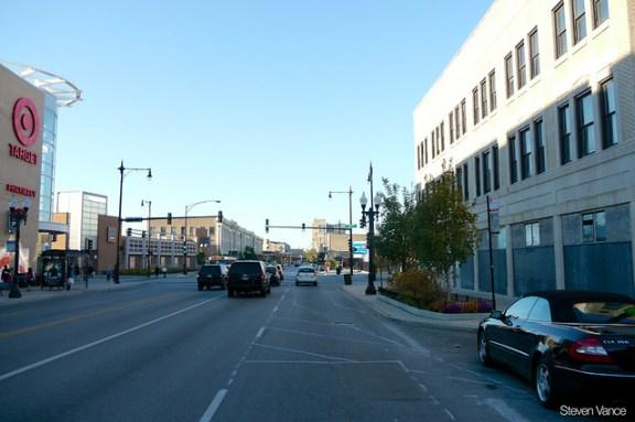 Broadway bike lane building, before construction halted