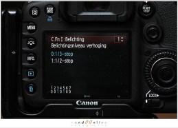 Custom menu EOS 7D: belichtingsniveau verhogen
