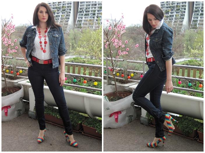 Jeansjacke und Kette orsay, Jeans Wrangler, Bluse C&A