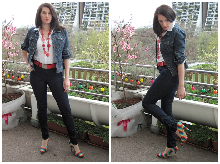 Jeansjacke und Kette orsay, Jeans Wrangler, Bluse C&A