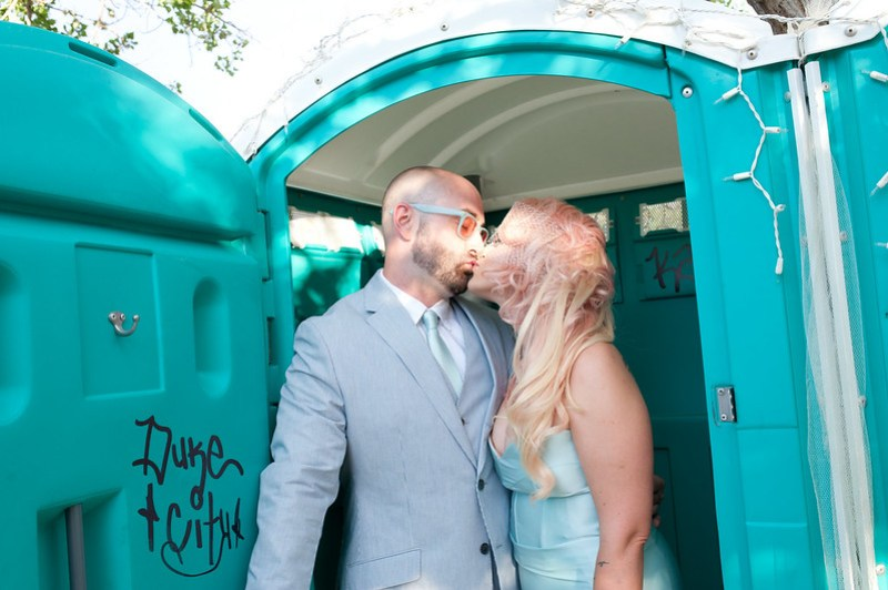 a very romantic porta potty