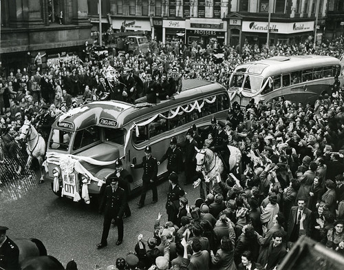 Manchester City parade following 1956 Cup Final