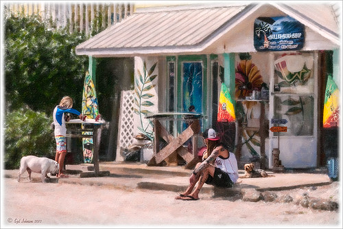 Image of kids and dogs in front of a surf shop in Flagler Beach