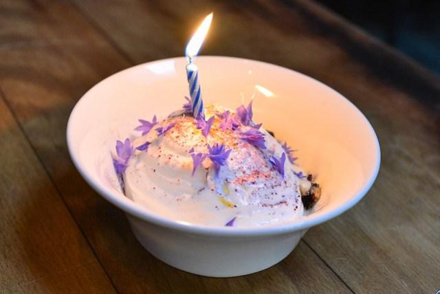 blueberry, frozen brown butter crumble, yogurt, bay leaf ice cream