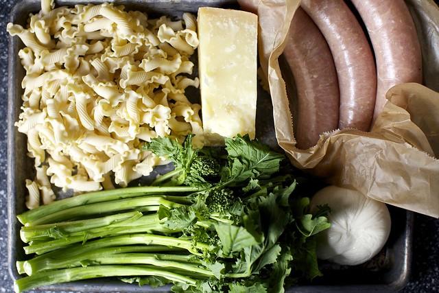 pasta + parmesan + sausage + garlic + rabe