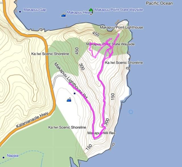 Makapuu Light Trail Topo Map