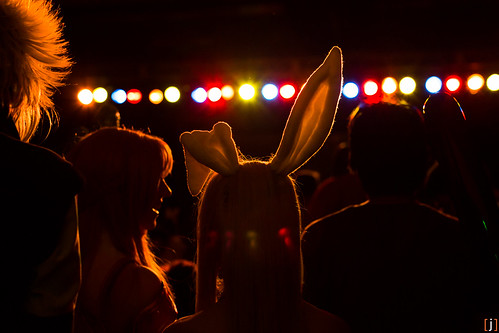 Bunny ears and an eager crowd awaiting the unofficial Vocaloid concert by Synthesized Reality Productions. Pacific Media Expo 2013. [j]
