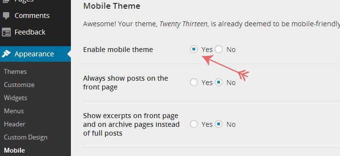 Turning on the mobile theme for a WordPress.com blog