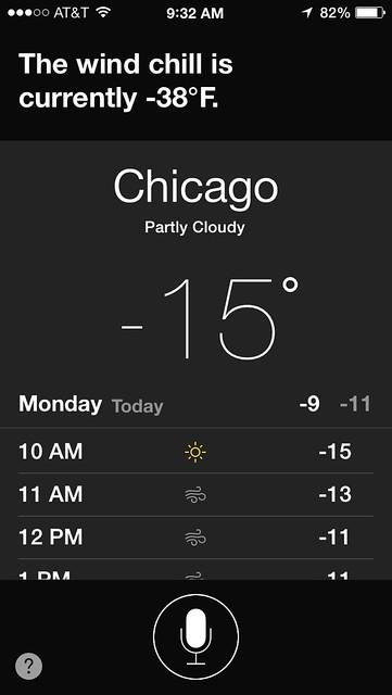 Siri Reports the Wind Chill is -38ºF