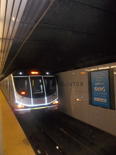 Train entering Eglinton station northbound, west track, Friday night