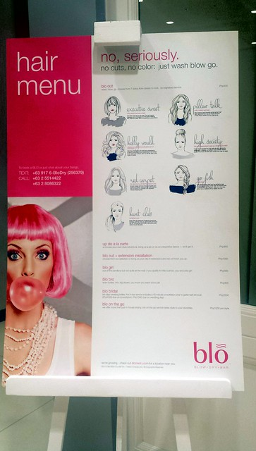 Blo Blowdry Bar hair menu