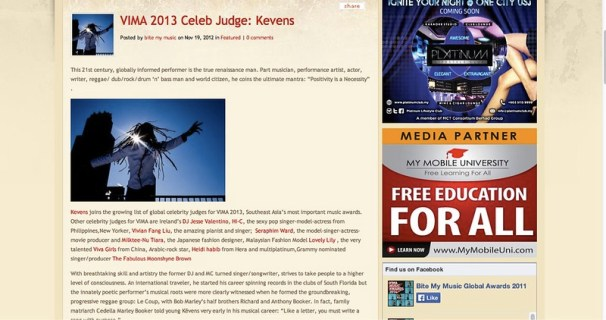 VIMA 2013 Celeb Judge_ Kevens | Bite My Music