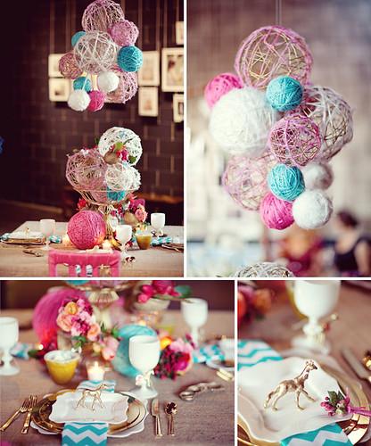 yarn chandelier