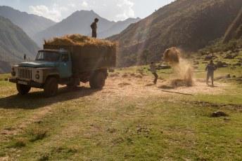 Boeren aan het hooien.