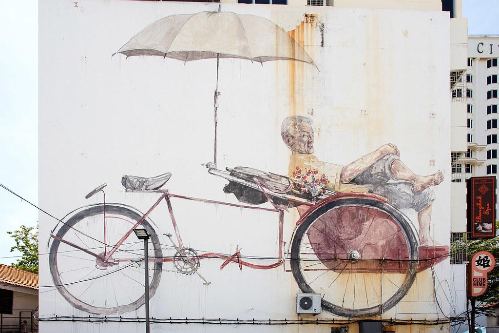 The Awaiting Trishaw Peddler, Artist: Ernest Zacharevic.