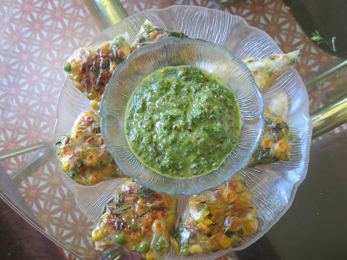 Rice paper samosas with mint chutney