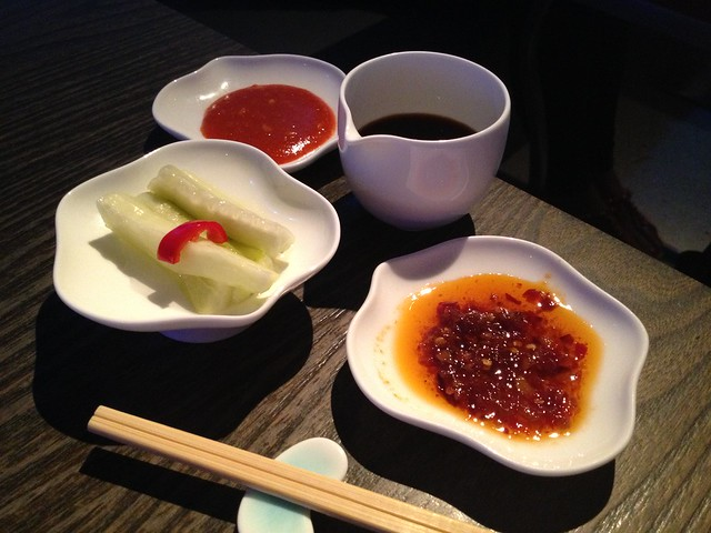 Dipping sauces and pickled cucumbers - Yauatcha
