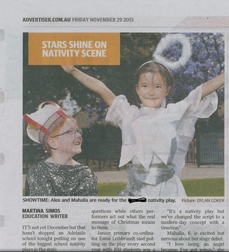 Li'l girl on The Advertiser Nov 2013