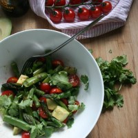 green asparagus, tomato & avocado salad