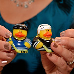 Wedding favours ducks as hockey players...