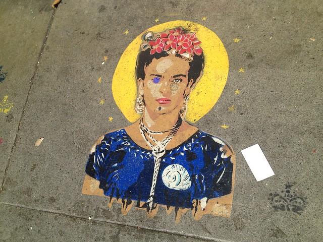 Frida Kahlo sidewalk stencil