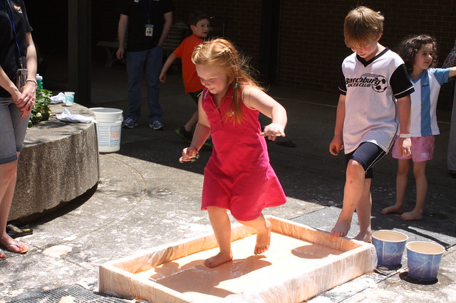 "Running across ""oobleck"" (cornstarch & water)"