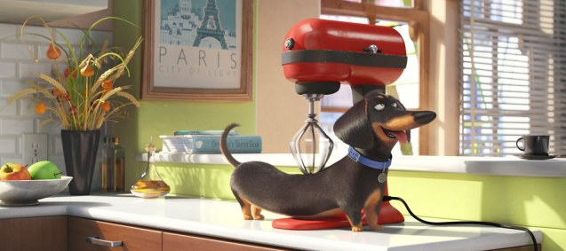 A dachshund gets a full body massage from a KitchenAid cake mixer. (Credit: slashfilm.com)
