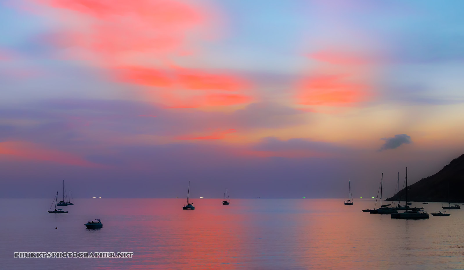 Sunset on the beacn with yachts and catamarans. Phuket AD4A5197s2