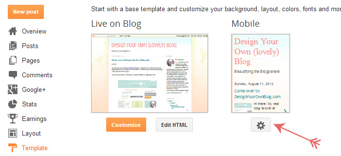 Turning on the mobile template in a Blogger blog