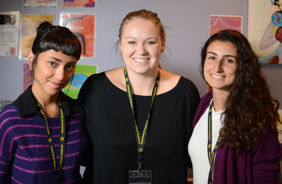 The Women's Center, which recently opened its doors, hired all new staff to run the center which is located located on the terrace level of the Cesar Chavez Student Center in room T-116. Analleli Gallardo (left) is the new office assistant, Brooke Glasky (center) is the new director, and Shani Winston (right) is the new assistant director. Photo by Virginia Tieman / Xpress