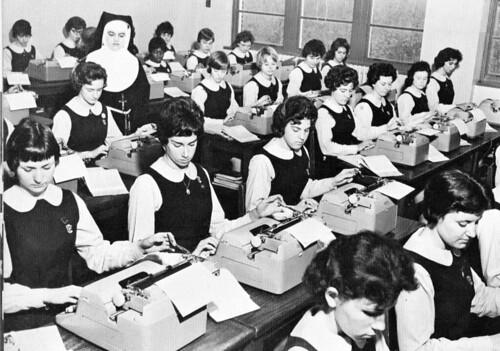 Little Flower High School for Girls Philadelphia PA 1961 Franciscan Sister teaching class