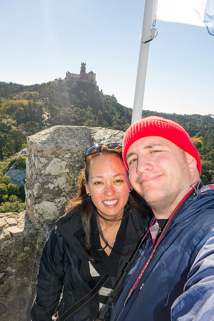 Heather and Matt atop Castelo dos Mouros with Pena Palace in the background.