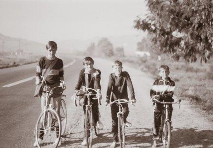 All four boys on our bikes