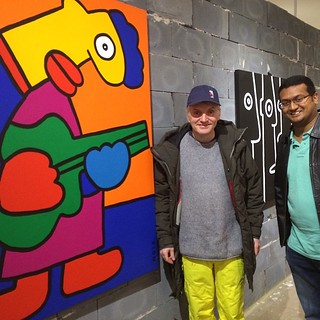Artist Thierry Noir with his first exhibition after a 30-year career