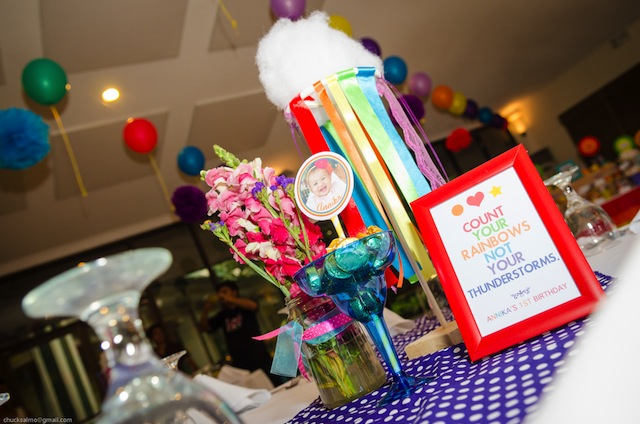 rainbow themed party centerpiece