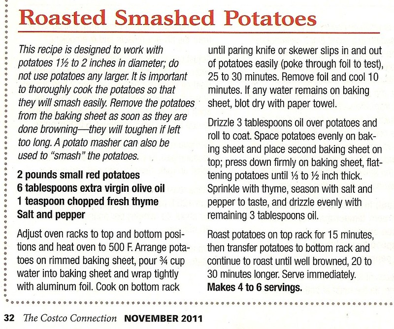 Copy of Smashed Potato Recipe in Costco Magazine