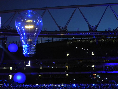 Lightbulb and performer over the Emirates Stadium