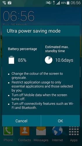 แบตเตอรี่ 85% นี่สามารถใช้สแตนด์บายใน Ultra Power Saving Mode ได้เป็น 10 วันเลย