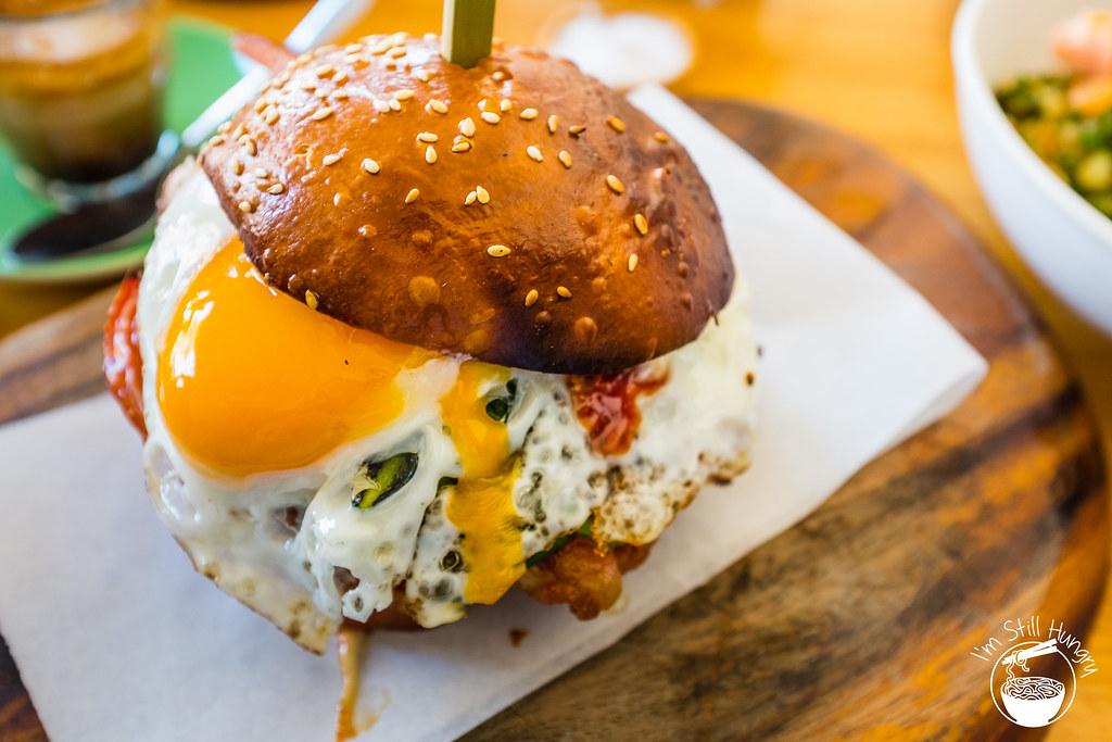 Kepos Street Kitchen egg & bacon brioche roll w/chilli jam