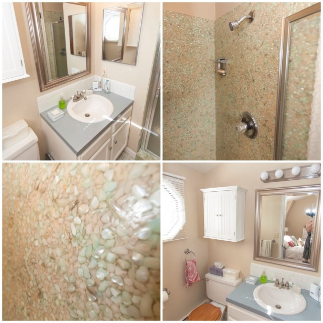 Master bathroom with neat shell shower walls.