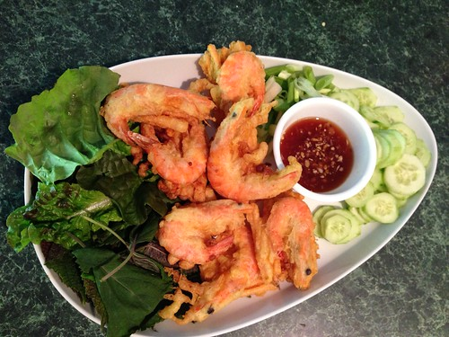 Sweet potato and shrimp fritters with cucumbers and herbs