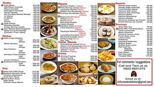 Shifu Master's Kitchen Menu1