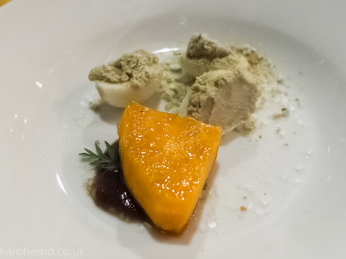Quail's egg, aubergine mousse, wasabi, sweet potato