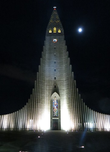 reykjavik cathedral by night