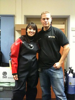 Trying on a drysuit